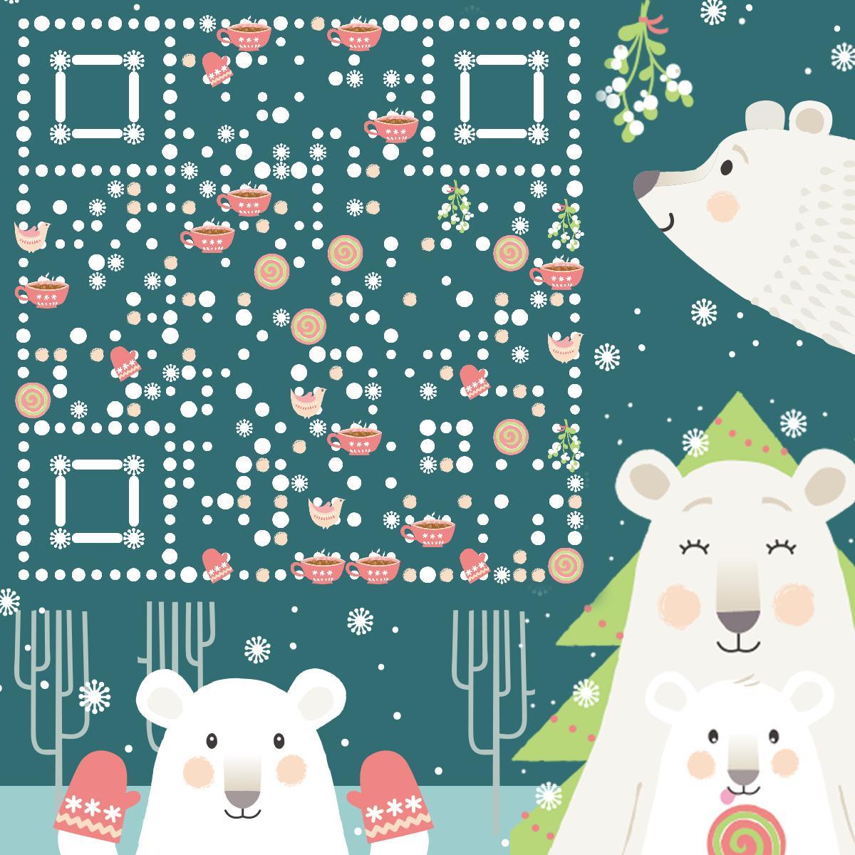 冬天白熊 藝術二維碼