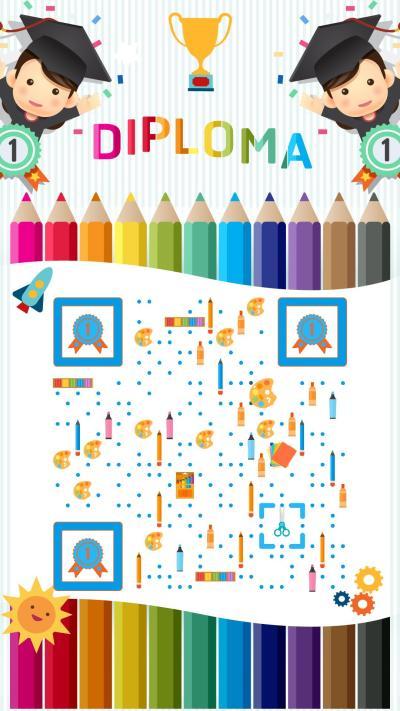 兒童教育豎藝術二維碼