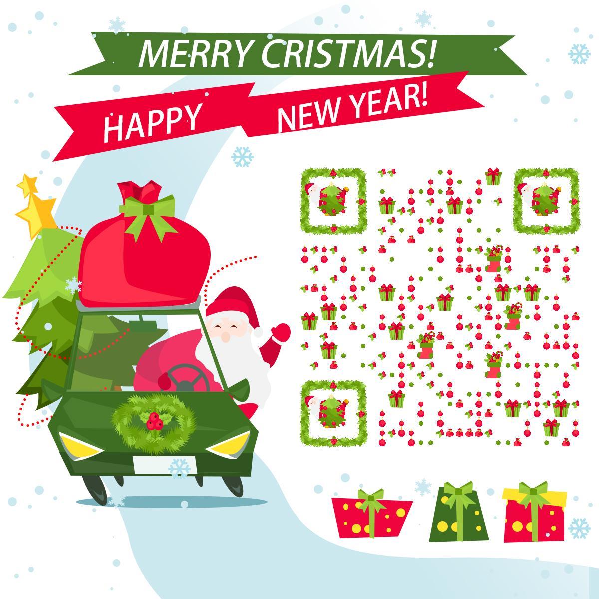 圣誕節圣誕老人 藝術二維碼